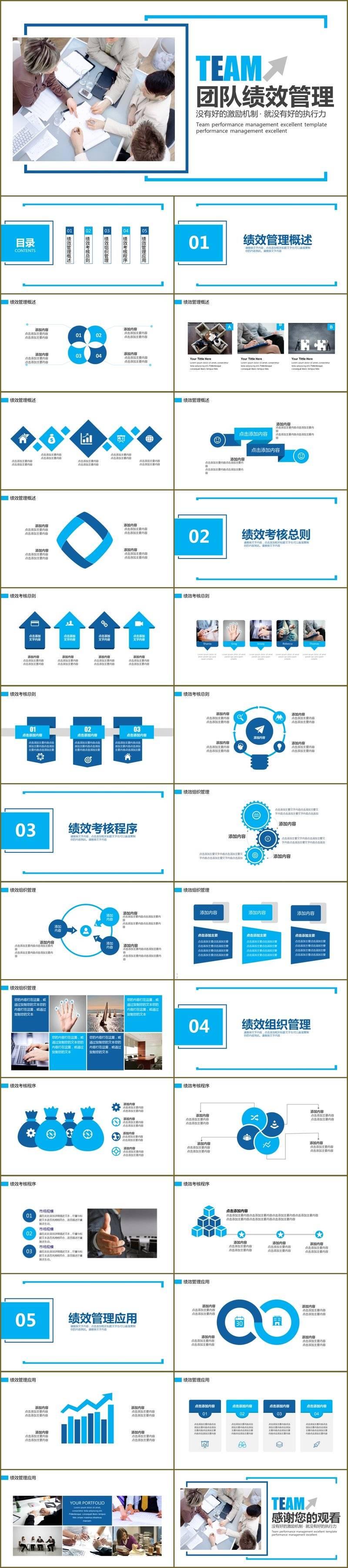 蓝色框架清晰结构公司企业团队建设绩效管理培训ppt模板
